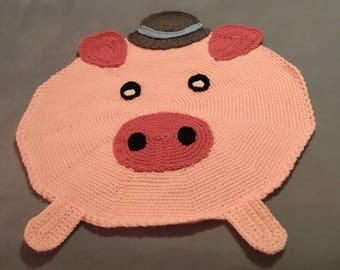Porky the crocheted rug.