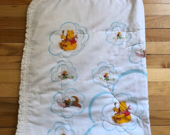 Vintage 1970s Walt Disney Winnie the Pooh Quilted Crib Blanket Quilt!