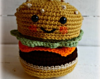 Crochet Hamburger Toy, Hamburger Toy, Play Food, Pretend Play, Hamburger, Funny Gift, Birthday Party, Birthday Gift, Stocking Stuffer