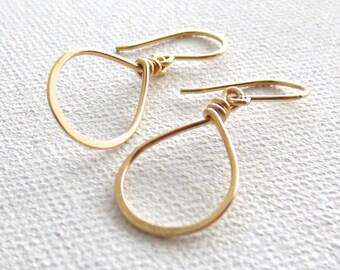 Small Hoops. Hammered Shiny Tear Drop Pink Rose Gold Hoop Earrings. Rose Gold, Silver, Yellow Gold Hoop Earrings