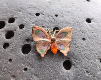 Vintage Orange Butterfly Brooch