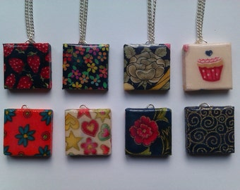 Glazed Scrabble Tile Necklace (Fabric Covered)