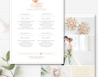 """8.5x11"""" Wedding Pricing Template, Photography Pricing Guide, Price List, Digital Design Files, Photography Template - INSTANT DOWNLOAD"""