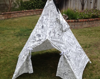 Giant Color Me TeePee Tent!! Purse With Washable Crayons / Markers, Urban #