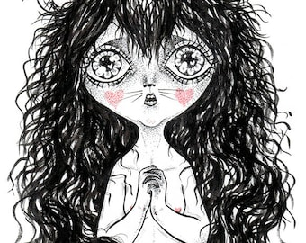Cat Angel - Pop surrealism original artwork
