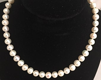 Natural White Fresh Water Pearl Necklace with a Heart Shaped Toggle Clasp