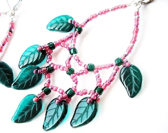Chandelier Handmade Earrings with Magenta and Green Glass Leaf Beads