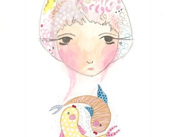 Pisces art print digital fish girl illustration small print