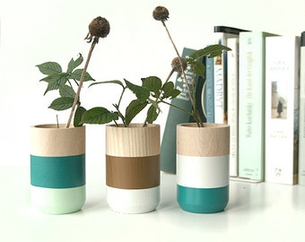 Wooden Vases - Home Decor - for flowers and more - Set of 3 - green - gift for Her