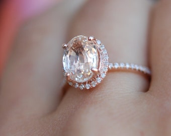 Oval engagement ring with 3.54ct champagne sapphire diamond ring 14k rose gold oval sapphire ring by Eidelprecious.