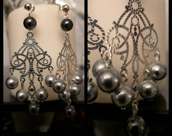 Earrings dangle cluster two grey and silver print * France: free shipping *.
