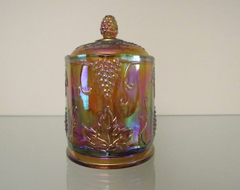 1970s Amber Carnival Glass Cookie Jar