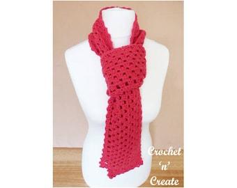 Crochet Granny Scarf Crochet Pattern (DOWNLOAD) CNC98