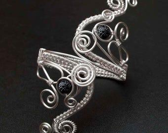 Silver arm cuff or bracelet cuff, Upper Arm bracelet,silver plated copper wire arm cuff ,black agate armcuff -MADE TO ORDER-
