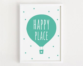 Happy place print / PRINTABLE A4 art poster 50x70 / Nursery wall art decor / cute baby room bebes art INSTANT DOWNLOAD