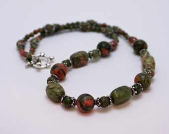 Unakite and Bali Sterling Silver Necklace 3579a
