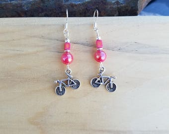 Pink Bike Earrings, Hot Pink Bicycle Sterling Silver Earrings, Pink Bike Sterling Silver Dangle Earrings, Pink Bike Earrings