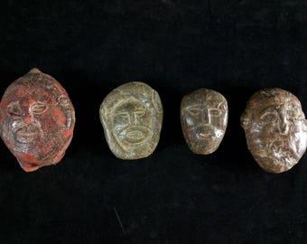 4 Shaman stone masks- Atoni,Timor island - tribal artifact