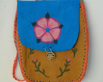 Wild Rose Medicine Bag, Suede Pouch, Small Purse