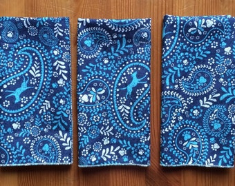 Blue Paisley Everyday Cloth Napkins, Set of 15