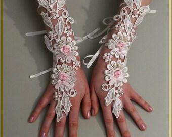 Wedding Gloves, White Gloves, Pearls Gloves,Lace Gloves, Guipure Gloves, Fingerless Gloves, Bridal Gloves, 3D Flowers Gloves, Party Gloves