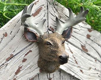 Trophy Deer Head for Miniature Garden, Fairy Garden