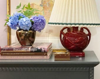 Vintage Melon Urn Shaped Table Lamp, Raspberry Red