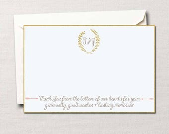 Laurel Monogram Thank You Notes ~ Wedding Thank you Cards ~ Custom DIY Printable in Your Choice of Colors