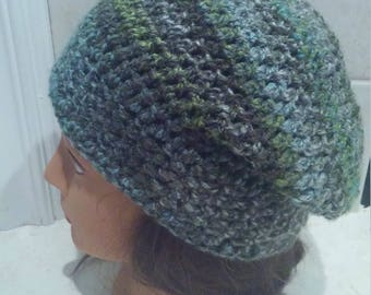 Striped Green Slouch Hat