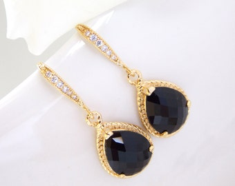 Wedding Jewelry, Black Earrings, Onix, Jet Black, Gold, Cubic Zirconia, Wedding Gifts, Bridesmaids Gifts, Bridesmaid Earrings, Dangle, Drop