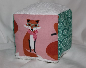 Pink Fabulous Foxes Fabric Block Rattle