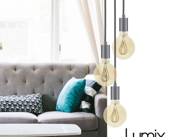 Multiple pendant 3 lamps modern style chromium custom creation - textile cable length, style and colors to choose - Multiple suspension