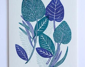 Dotty Leaf Two Colour Riso Print