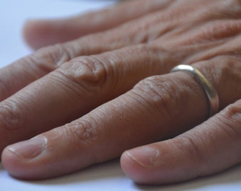 Mens wedding band, silver wedding band men, simple ring band, sterling silver ring men, asymmetric ring, plain silver ring, minimalist ring