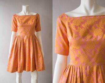 vintage 1950s dress / 50s pink brocade dress / small / Sorbet Dress