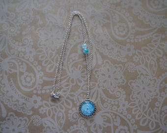 Necklace Volupte handpainted blue and white
