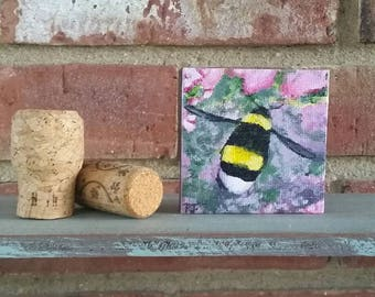 """Mini Bumblebee with pink flowers miniature acrylic painting 3""""x3"""""""