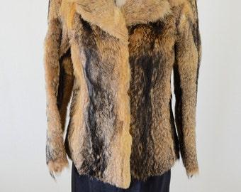 Boho Chic FUR French Ladies RABBIT Fur Coat Jacket Caramel Free Shipping US