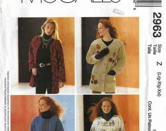 Ladies' oversize unlined jacket pattern with front closure in Misses' sizes Large, X-Large, XX-Large  McCalls 2963 UNCUT & FF (2000)  K1098