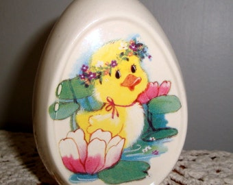 Vintage Ceramic Egg, Yellow Duck, Water Lilies, Easter Decoration, Holiday Decor, Spring Time  (198-15)