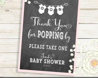 Thank you for POPPING by personalized sign for wedding or shower. Printed or PDF Sign in size, color of choice. Sarah Collection  Chalkboard