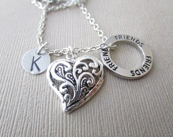 Friends and Heart, Initial Hand Stamped Necklace/ Best Friend Necklace, Friendship Gift, Best Friend Gift, For Her