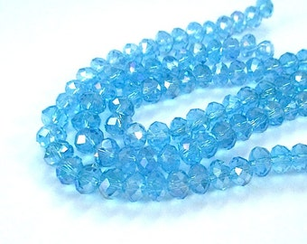 Aqua Blue Beads, 6mm x 5mm Faceted Glass Crystal Rondelles, Elegant Sparkle Glam, Spacer Beads, DIY Jewelry Making Supplies  32 Pieces SP756