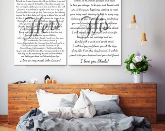 Gift for couple, gift for Bride, gift for Groom, Wedding Vows gift, His and Hers vows, Set of Two canvas prints, Custom gift for couple