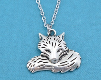 "Fox Necklace. Fox Jewelry. Fox Charm.  Silver necklace.  Fox.  Gift for Her.  Gift for Teen.  Teen girl.  16"" +2"" extender."