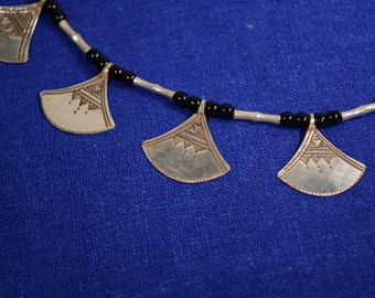 Tuareg necklace of Chat'chat - Silver and Onyx