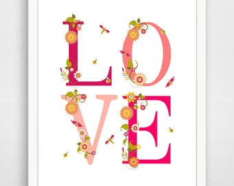 Children's Wall Art / Nursery Decor LOVE Pink Garden... print by Finny and Zook