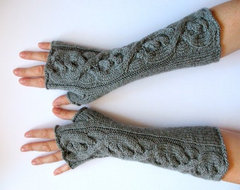 "Fingerless Gloves Gray 16"" wrist warmers"