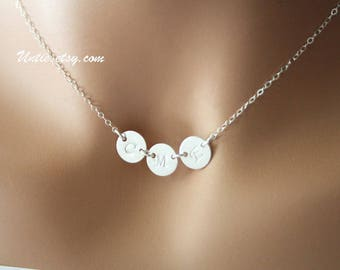 Customized Initial Sideways Three Disk Necklace - All Sterling Silver, You can make your choice Size of Disk and number of Disks you want