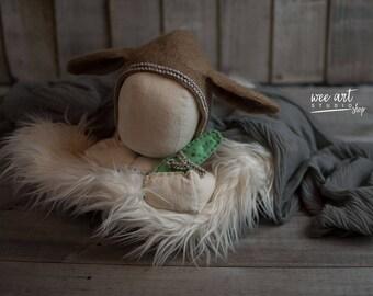 Felted vintage style Rabbit bonnet